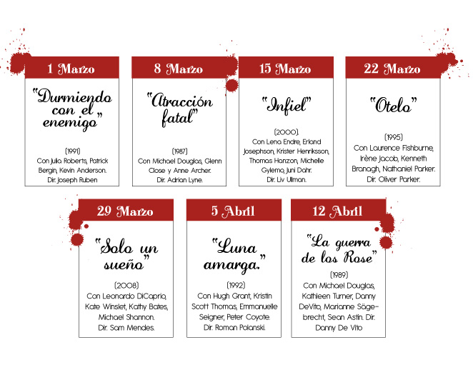 Calendario de películas para el ciclo de cine Amores que matan.